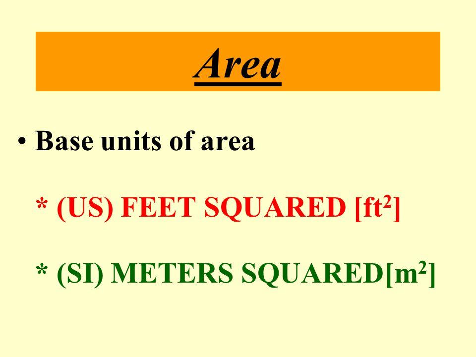 Area Base units of area * (US) FEET SQUARED [ft2]